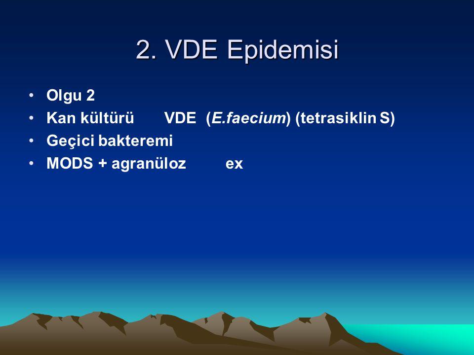 2. VDE Epidemisi Olgu 2 Kan kültürü VDE (E.faecium) (tetrasiklin S) Geçici bakteremi MODS + agranüloz ex