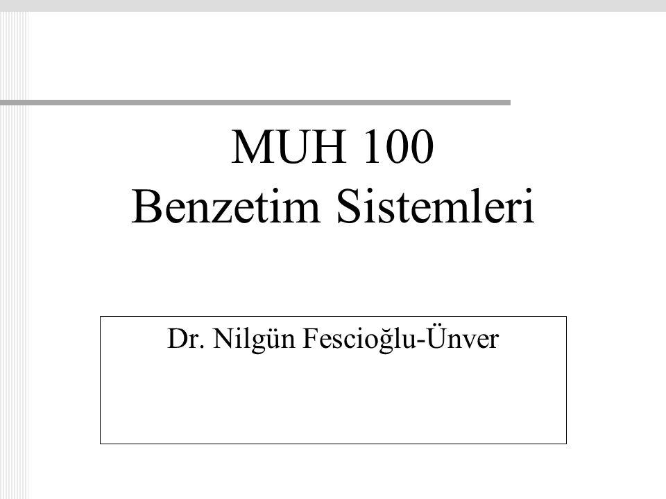 MUH 100 Benzetim Sistemleri Dr. Nilgün Fescioğlu-Ünver