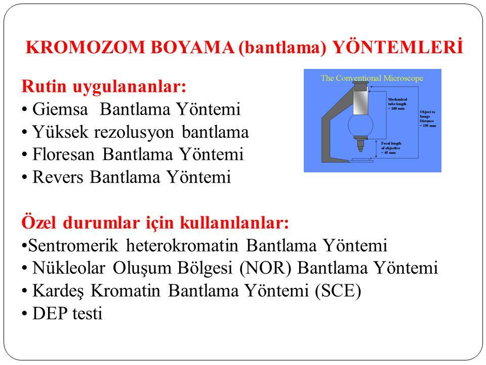 KROMOZOM BOYAMA (bantlama) YÖNTEMLERİ Rutin uygulananlar: Giemsa Bantlama Yöntemi Yüksek rezolusyon bantlama Floresan Bantlama Yöntemi Revers Bantlama Yöntemi Özel durumlar için kullanılanlar: Sentromerik heterokromatin Bantlama Yöntemi Nükleolar Oluşum Bölgesi (NOR) Bantlama Yöntemi Kardeş Kromatin Bantlama Yöntemi (SCE) DEP testi