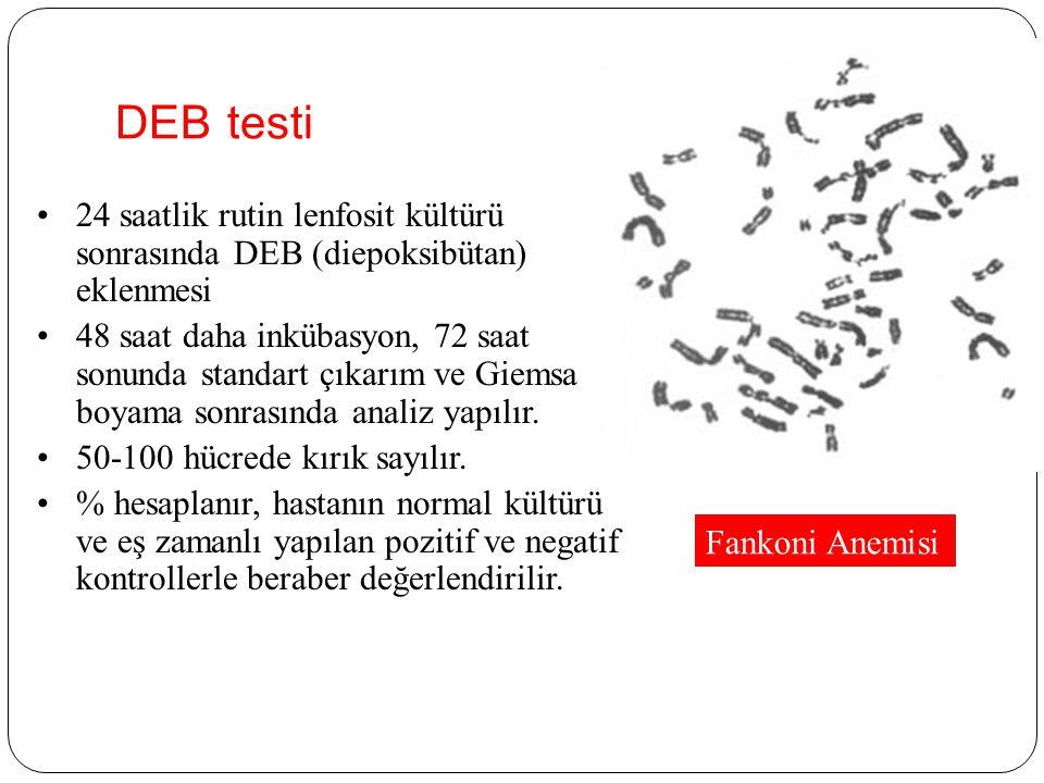 DEB testi 24 saatlik rutin lenfosit kültürü sonrasında DEB (diepoksibütan) eklenmesi 48 saat daha inkübasyon, 72 saat sonunda standart çıkarım ve Giemsa boyama sonrasında analiz yapılır.