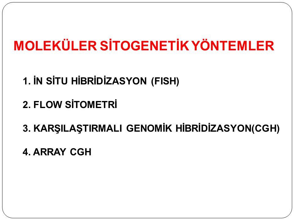 MOLEKÜLER SİTOGENETİK YÖNTEMLER 1. İN SİTU HİBRİDİZASYON (FISH) 2. FLOW SİTOMETRİ 3. KARŞILAŞTIRMALI GENOMİK HİBRİDİZASYON(CGH) 4. ARRAY CGH