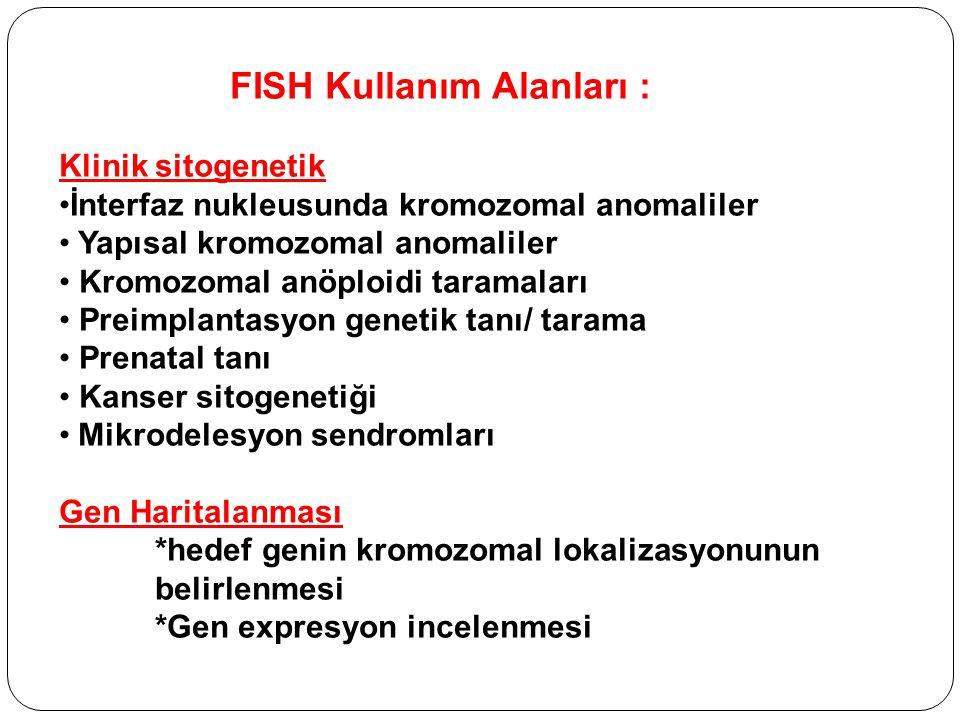 FISH Kullanım Alanları : Klinik sitogenetik İnterfaz nukleusunda kromozomal anomaliler Yapısal kromozomal anomaliler Kromozomal anöploidi taramaları Preimplantasyon genetik tanı/ tarama Prenatal tanı Kanser sitogenetiği Mikrodelesyon sendromları Gen Haritalanması *hedef genin kromozomal lokalizasyonunun belirlenmesi *Gen expresyon incelenmesi