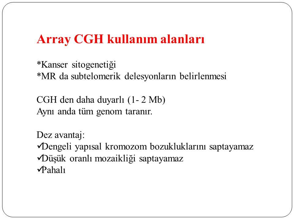 Array CGH kullanım alanları *Kanser sitogenetiği *MR da subtelomerik delesyonların belirlenmesi CGH den daha duyarlı (1- 2 Mb) Aynı anda tüm genom taranır.