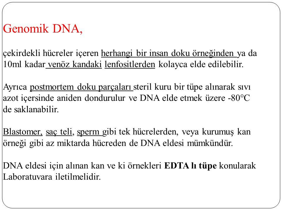 Genomik DNA, çekirdekli hücreler içeren herhangi bir insan doku örneğinden ya da 10ml kadar venöz kandaki lenfositlerden kolayca elde edilebilir. Ayrı