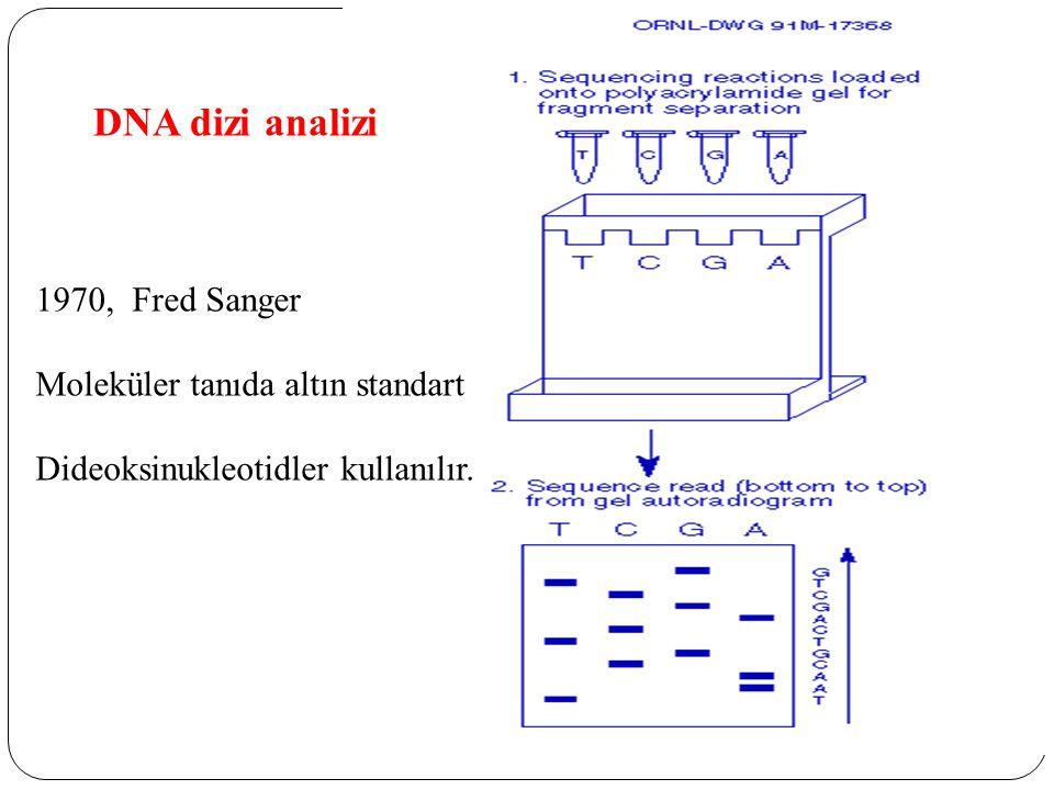1970, Fred Sanger Moleküler tanıda altın standart Dideoksinukleotidler kullanılır. DNA dizi analizi
