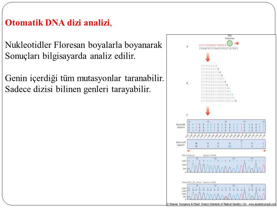 Otomatik DNA dizi analizi, Nukleotidler Floresan boyalarla boyanarak Sonuçları bilgisayarda analiz edilir. Genin içerdiği tüm mutasyonlar taranabilir.
