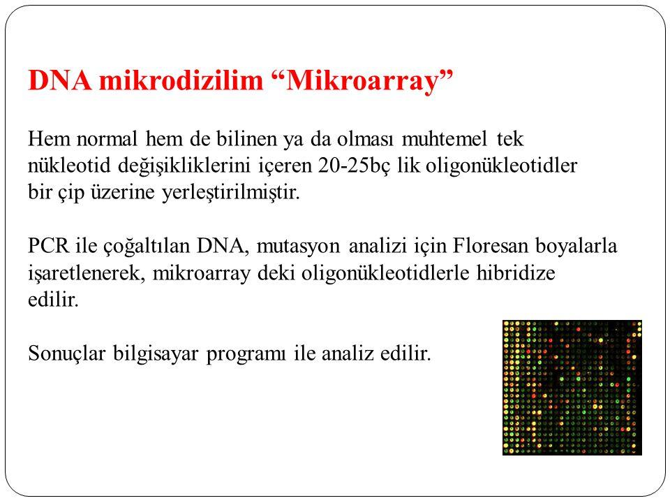 DNA mikrodizilim Mikroarray Hem normal hem de bilinen ya da olması muhtemel tek nükleotid değişikliklerini içeren 20-25bç lik oligonükleotidler bir çip üzerine yerleştirilmiştir.