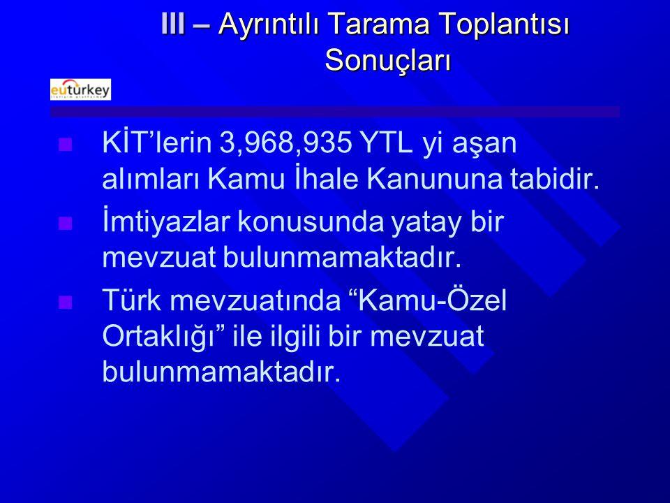 III – Ayrıntılı Tarama Toplantısı Sonuçları KİT'lerin 3,968,935 YTL yi aşan alımları Kamu İhale Kanununa tabidir.