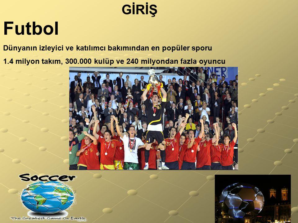 GİRİŞ Futbol Dünyanın izleyici ve katılımcı bakımından en popüler sporu 1.4 milyon takım, 300.000 kulüp ve 240 milyondan fazla oyuncu