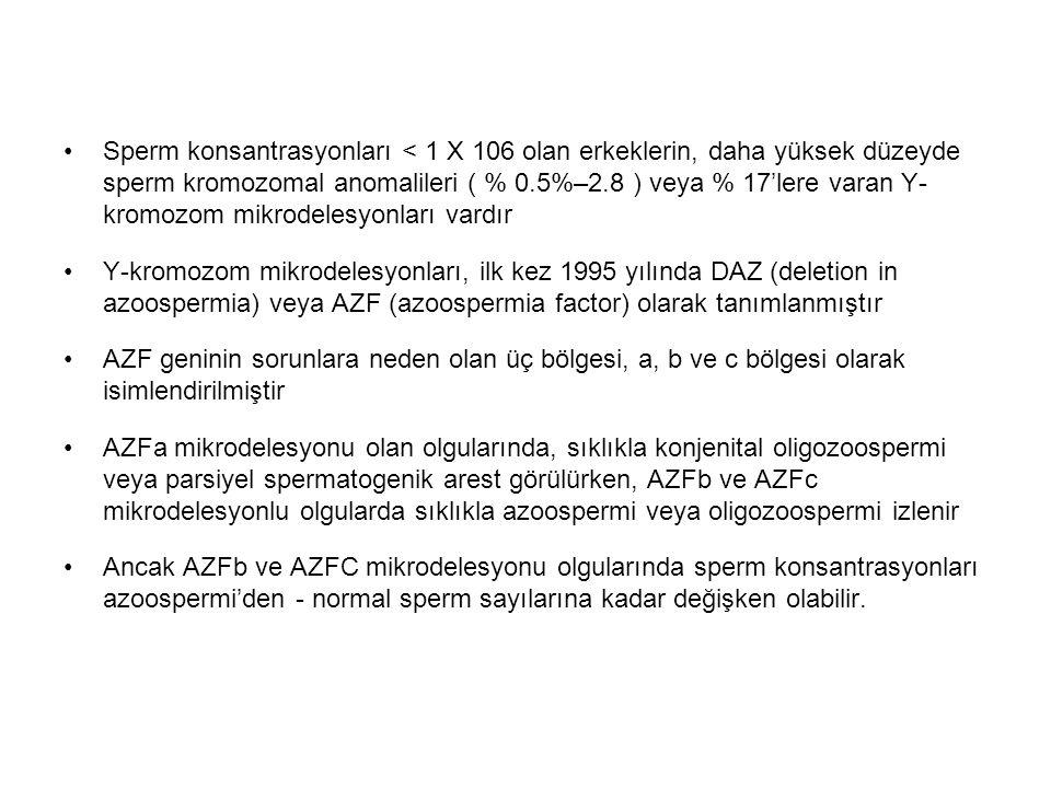 Sperm konsantrasyonları < 1 X 106 olan erkeklerin, daha yüksek düzeyde sperm kromozomal anomalileri ( % 0.5%–2.8 ) veya % 17'lere varan Y- kromozom mi