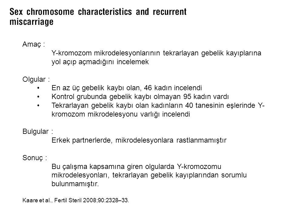 Amaç : Y-kromozom mikrodelesyonlarının tekrarlayan gebelik kayıplarına yol açıp açmadığını incelemek Olgular : En az üç gebelik kaybı olan, 46 kadın i