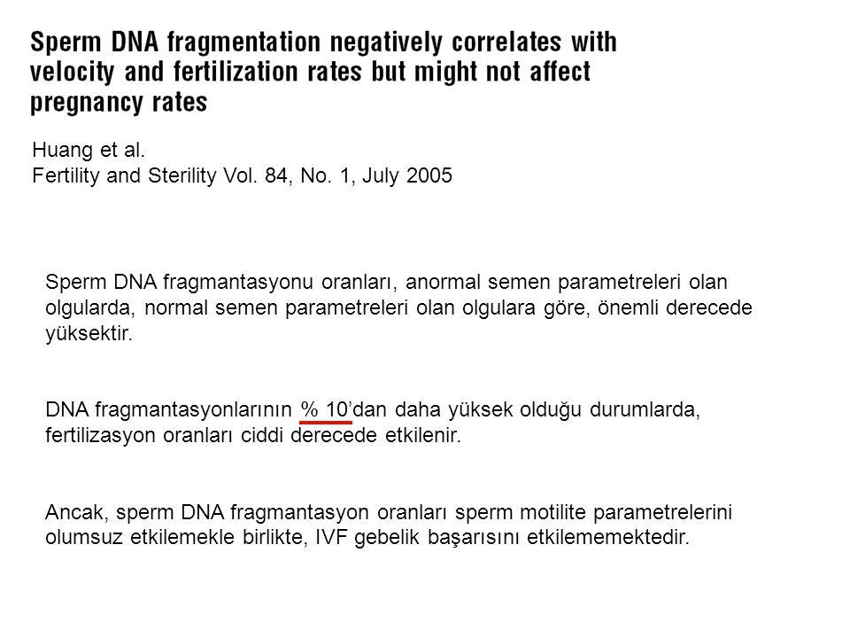 Huang et al. Fertility and Sterility Vol. 84, No. 1, July 2005 Sperm DNA fragmantasyonu oranları, anormal semen parametreleri olan olgularda, normal s