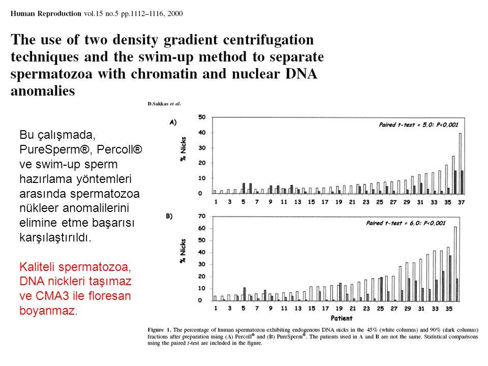 Bu çalışmada, PureSperm®, Percoll® ve swim-up sperm hazırlama yöntemleri arasında spermatozoa nükleer anomalilerini elimine etme başarısı karşılaştırı