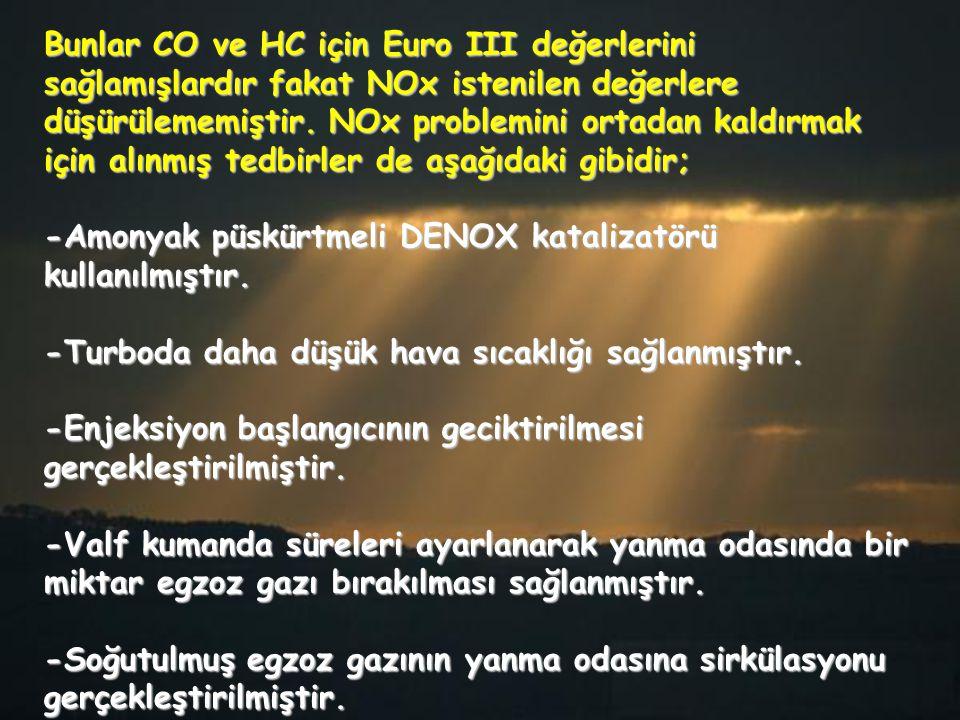 Bunlar CO ve HC için Euro III değerlerini sağlamışlardır fakat NOx istenilen değerlere düşürülememiştir. NOx problemini ortadan kaldırmak için alınmış