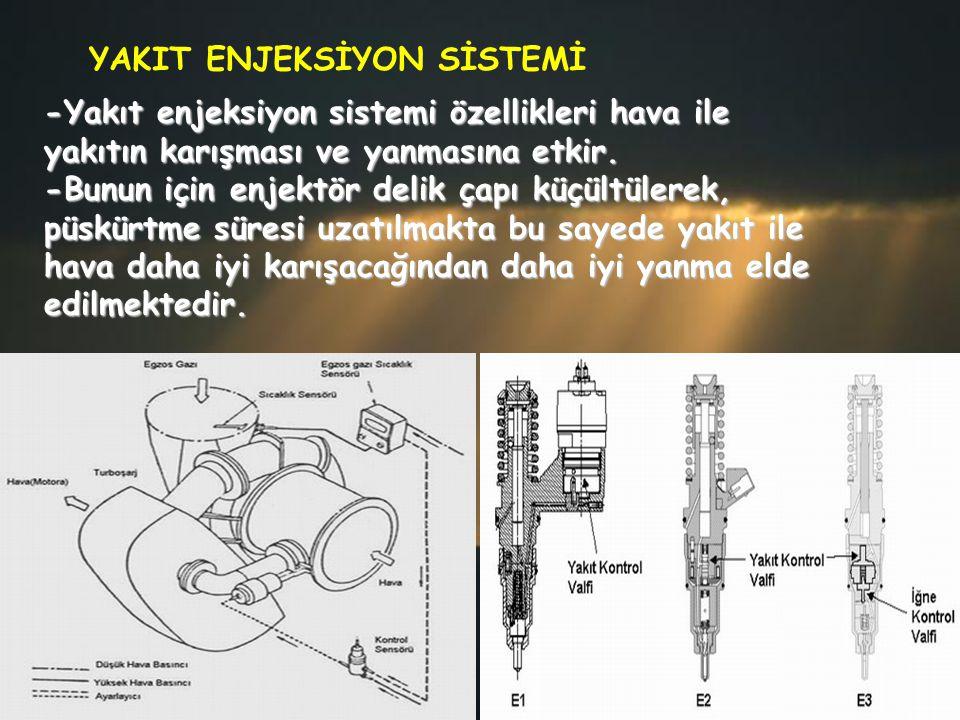 -Yakıt enjeksiyon sistemi özellikleri hava ile yakıtın karışması ve yanmasına etkir. -Bunun için enjektör delik çapı küçültülerek, püskürtme süresi uz