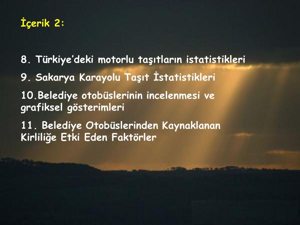 İçerik 2: 8. Türkiye'deki motorlu taşıtların istatistikleri 9. Sakarya Karayolu Taşıt İstatistikleri 10.Belediye otobüslerinin incelenmesi ve grafikse