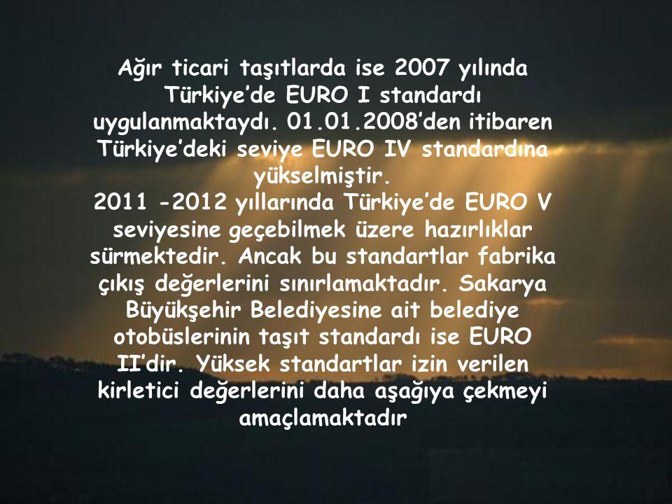 Ağır ticari taşıtlarda ise 2007 yılında Türkiye'de EURO I standardı uygulanmaktaydı. 01.01.2008'den itibaren Türkiye'deki seviye EURO IV standardına y