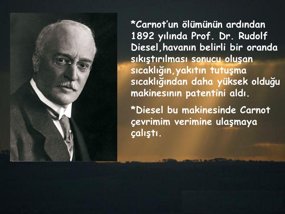 *Carnot'un ölümünün ardından 1892 yılında Prof. Dr. Rudolf Diesel,havanın belirli bir oranda sıkıştırılması sonucu oluşan sıcaklığın,yakıtın tutuşma s