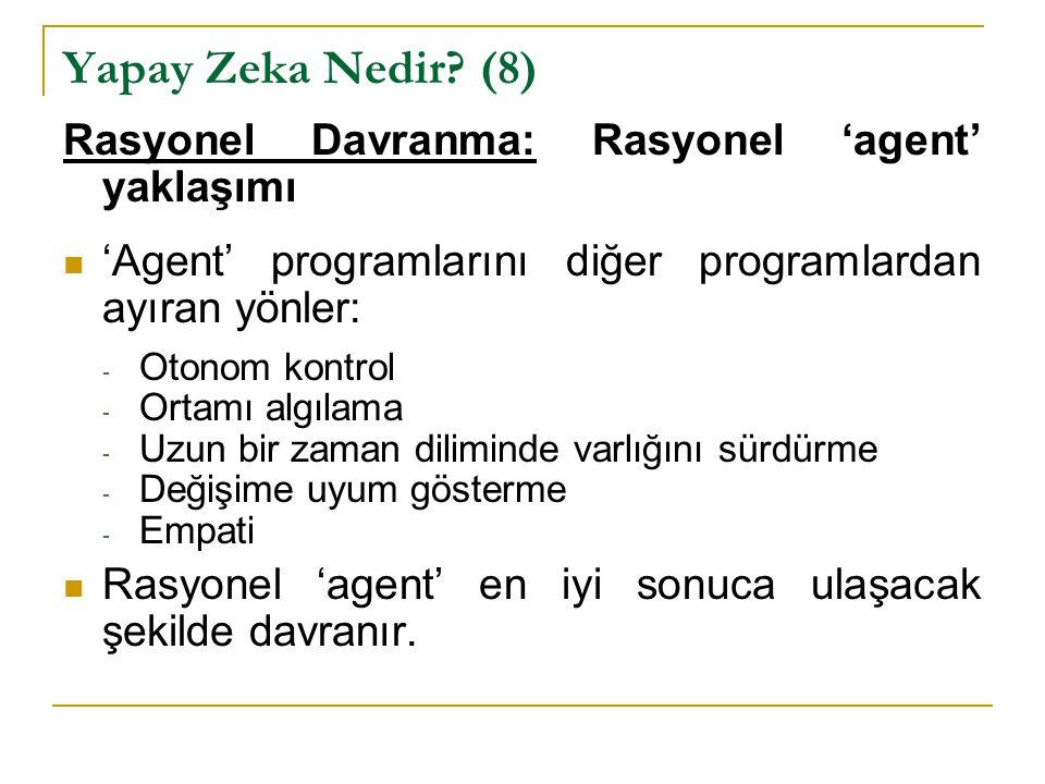 Yapay Zeka Nedir? (8) Rasyonel Davranma: Rasyonel 'agent' yaklaşımı 'Agent' programlarını diğer programlardan ayıran yönler: - Otonom kontrol - Ortamı