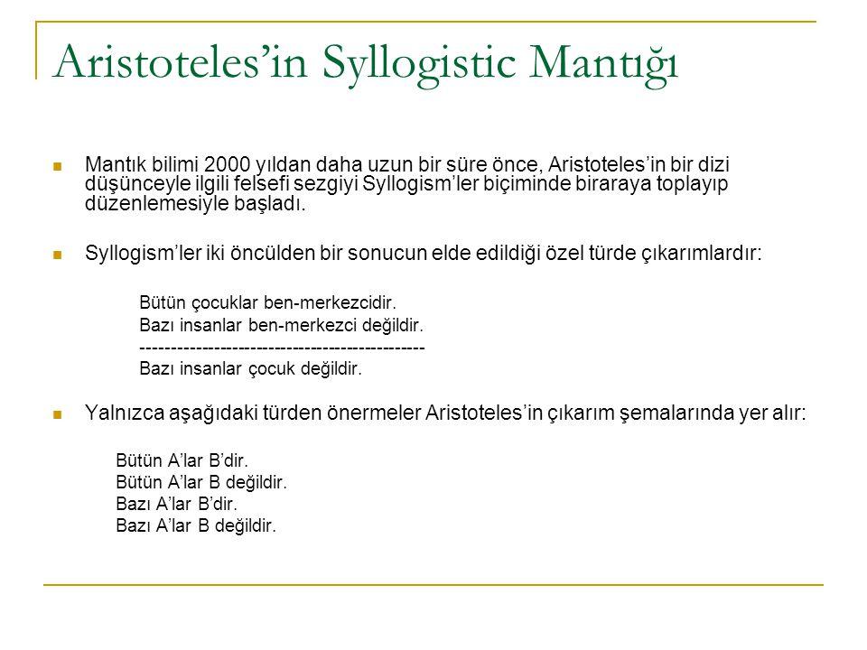 Aristoteles'in Syllogistic Mantığı Mantık bilimi 2000 yıldan daha uzun bir süre önce, Aristoteles'in bir dizi düşünceyle ilgili felsefi sezgiyi Syllog