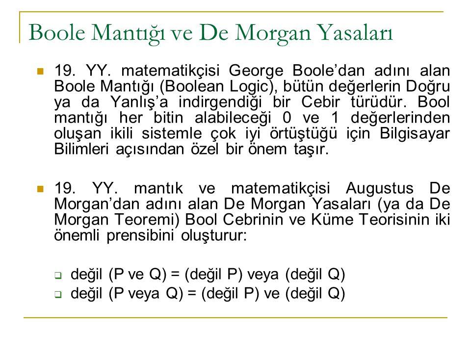 Boole Mantığı ve De Morgan Yasaları 19. YY. matematikçisi George Boole'dan adını alan Boole Mantığı (Boolean Logic), bütün değerlerin Doğru ya da Yanl