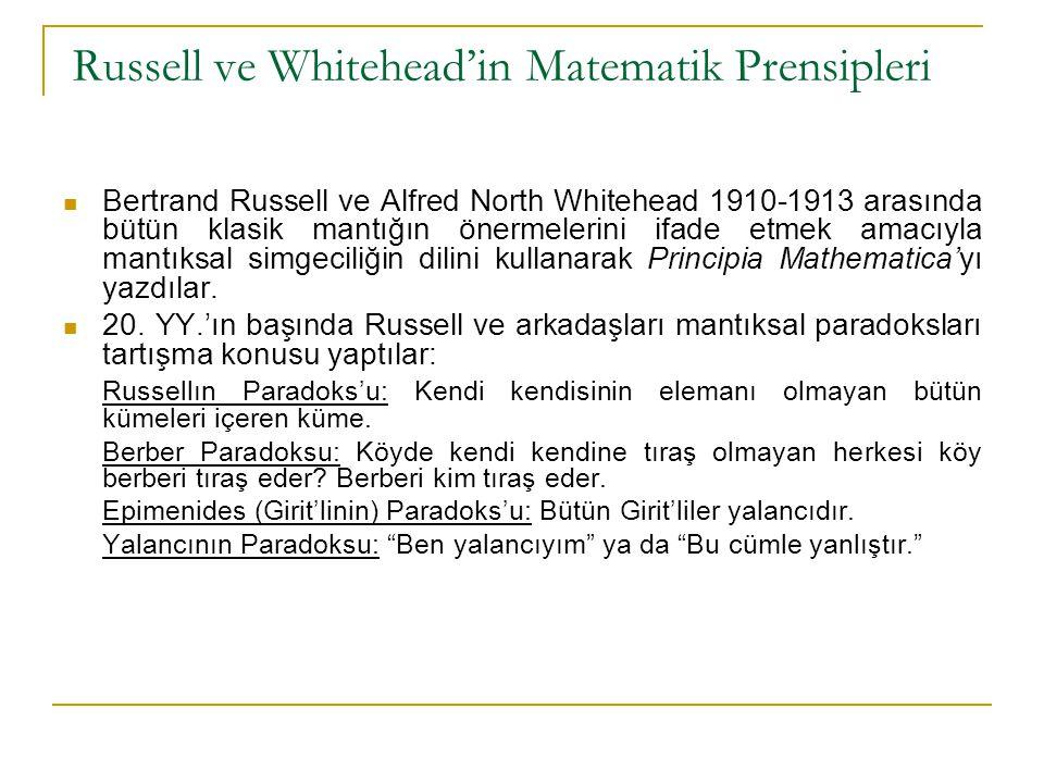 Russell ve Whitehead'in Matematik Prensipleri Bertrand Russell ve Alfred North Whitehead 1910-1913 arasında bütün klasik mantığın önermelerini ifade e