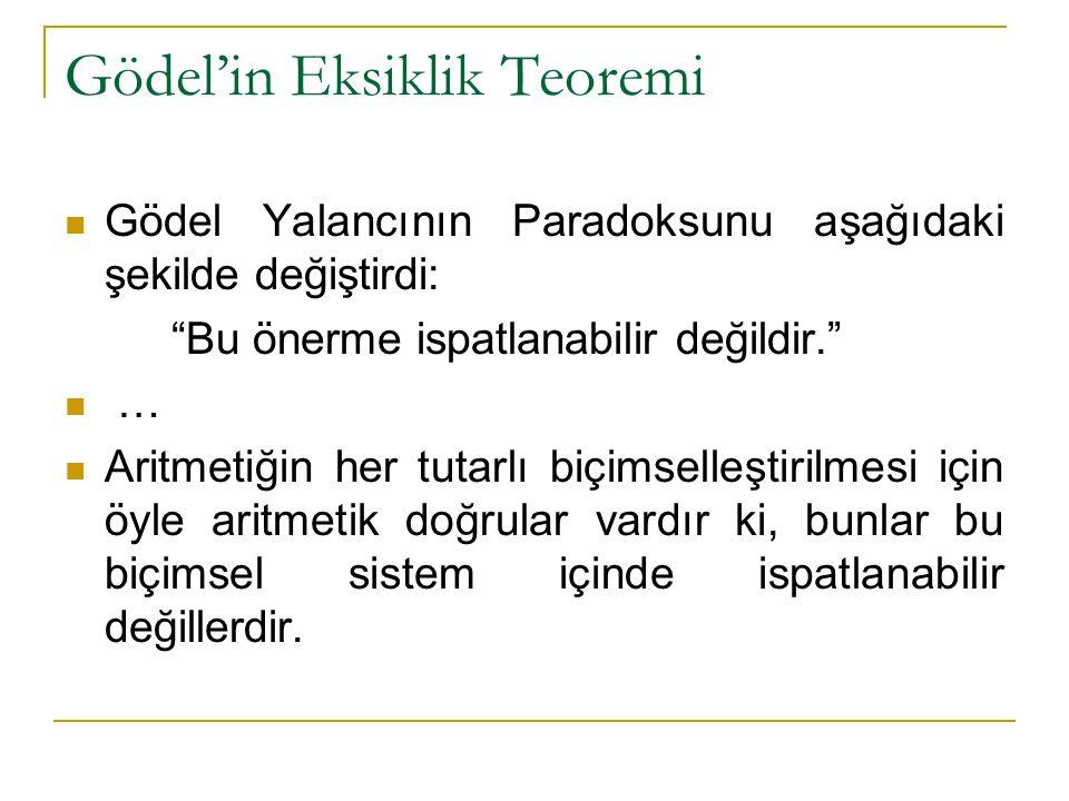 """Gödel'in Eksiklik Teoremi Gödel Yalancının Paradoksunu aşağıdaki şekilde değiştirdi: """"Bu önerme ispatlanabilir değildir."""" … Aritmetiğin her tutarlı bi"""