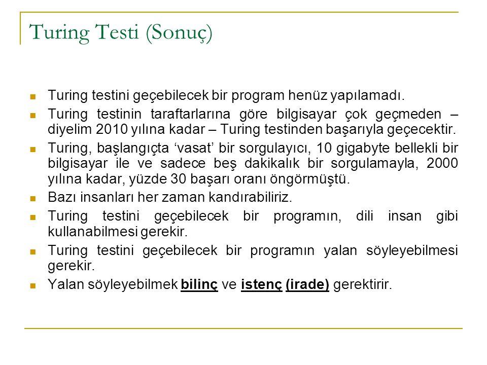 Turing Testi (Sonuç) Turing testini geçebilecek bir program henüz yapılamadı. Turing testinin taraftarlarına göre bilgisayar çok geçmeden – diyelim 20