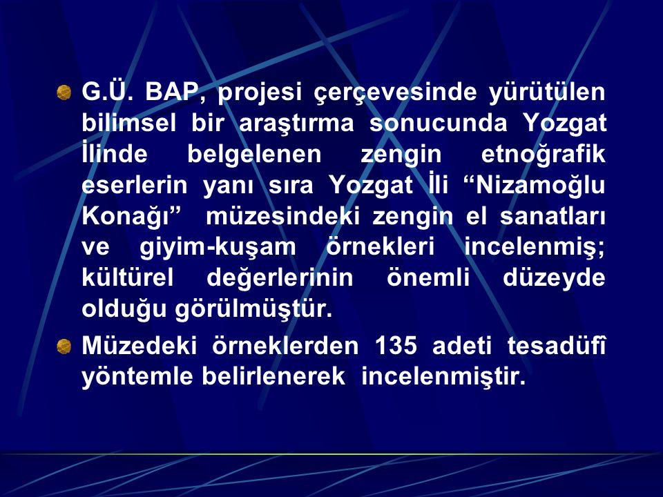 """G.Ü. BAP, projesi çerçevesinde yürütülen bilimsel bir araştırma sonucunda Yozgat İlinde belgelenen zengin etnoğrafik eserlerin yanı sıra Yozgat İli """"N"""