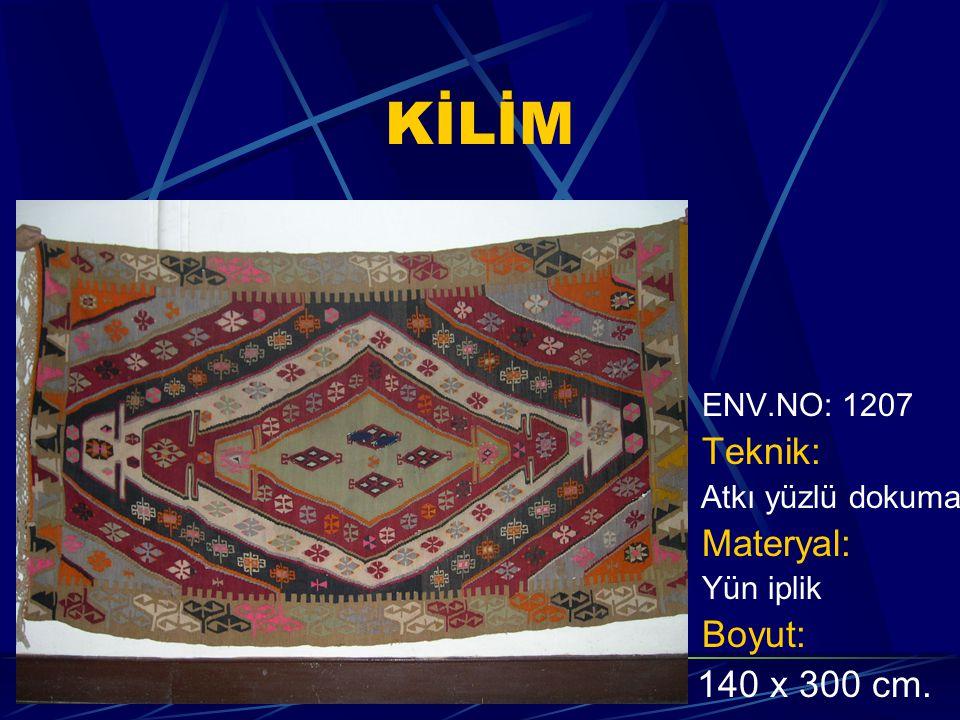 KİLİM ENV.NO: 1207 Teknik: Atkı yüzlü dokuma Materyal: Yün iplik Boyut: 140 x 300 cm.