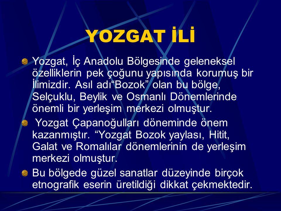 YOZGAT İLİ Yozgat, İç Anadolu Bölgesinde geleneksel özelliklerin pek çoğunu yapısında korumuş bir İlimizdir.