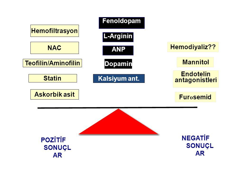Kalsiyum ant. POZİTİF SONUÇL AR Teofilin/Aminofilin Dopamin Fur o semid Endotelin antagonistleri Mannitol ANP NEGATİF SONUÇL AR Askorbik asit Statin N