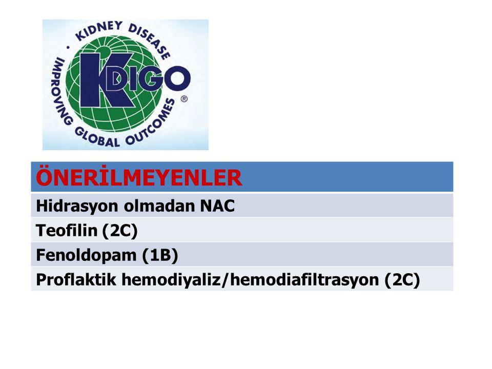 ÖNERİLMEYENLER Hidrasyon olmadan NAC Teofilin (2C) Fenoldopam (1B) Proflaktik hemodiyaliz/hemodiafiltrasyon (2C)