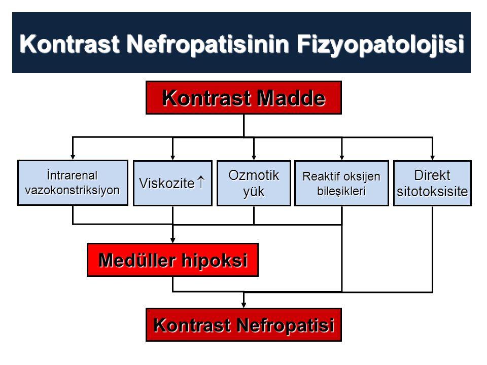 Kontrast Nefropatisinin Fizyopatolojisi Kontrast Madde Medüller hipoksi Kontrast Nefropatisi İntrarenalvazokonstriksiyon Viskozite  Ozmotikyük Reakti