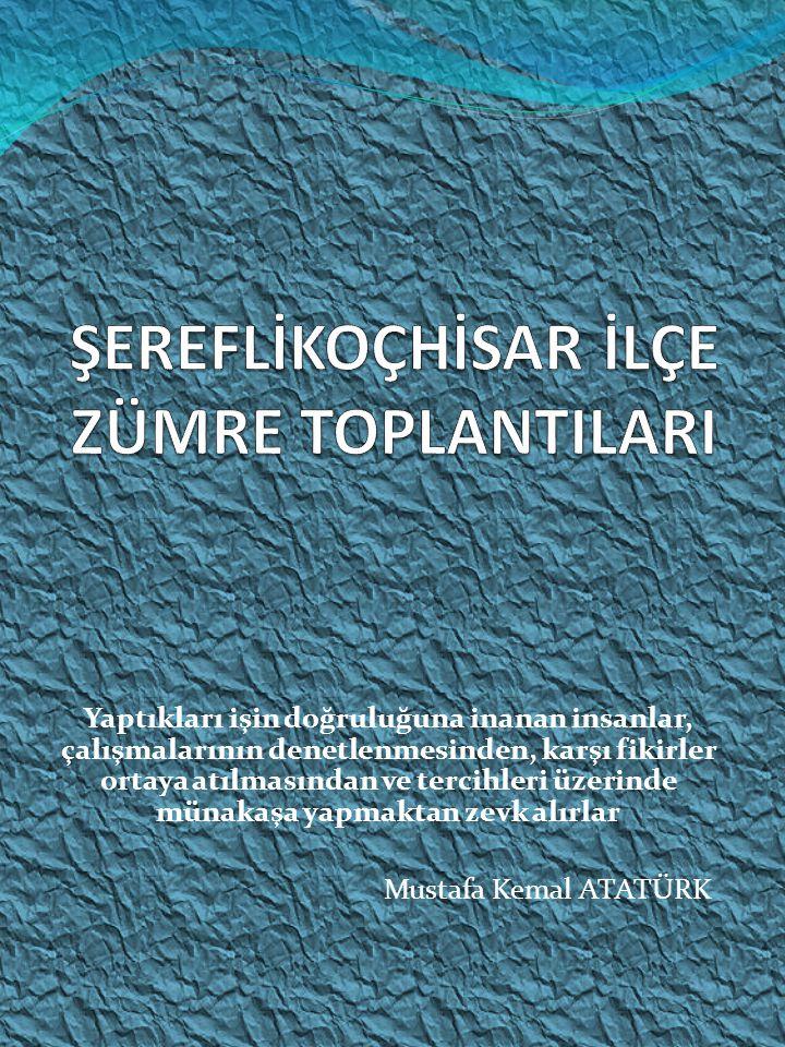 Yaptıkları işin doğruluğuna inanan insanlar, çalışmalarının denetlenmesinden, karşı fikirler ortaya atılmasından ve tercihleri üzerinde münakaşa yapmaktan zevk alırlar Mustafa Kemal ATATÜRK