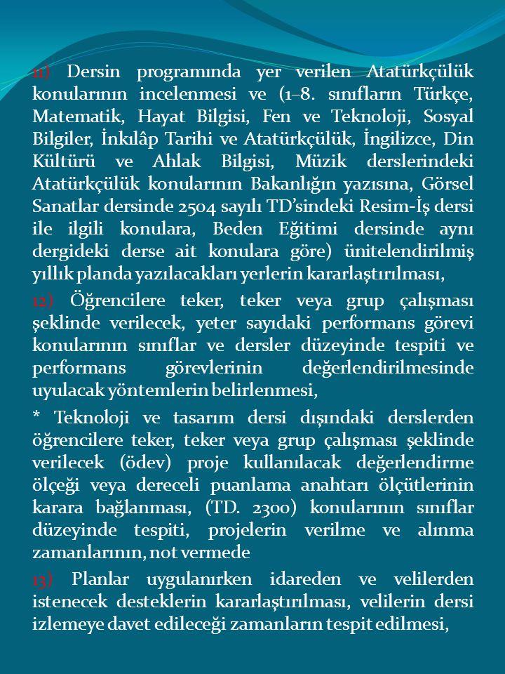 11) Dersin programında yer verilen Atatürkçülük konularının incelenmesi ve (1–8. sınıfların Türkçe, Matematik, Hayat Bilgisi, Fen ve Teknoloji, Sosyal