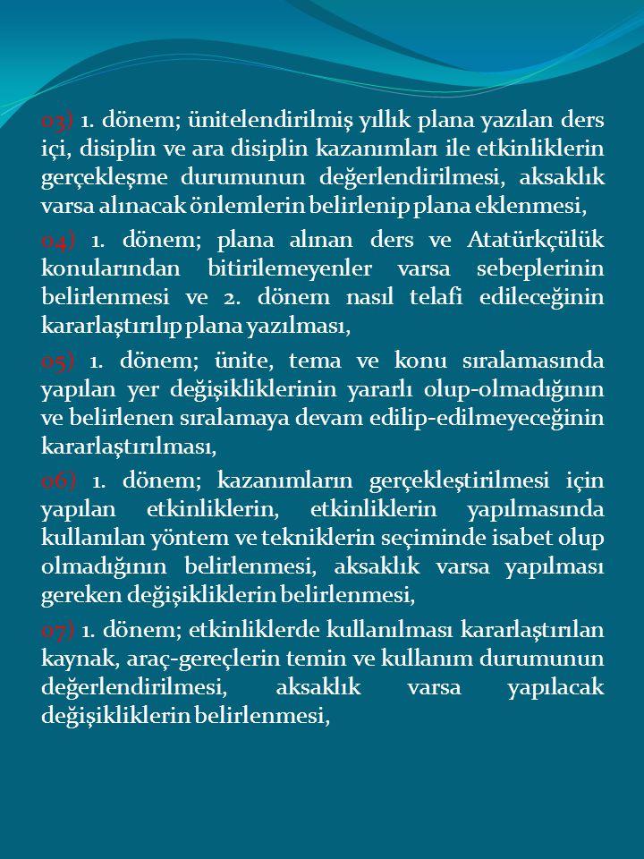 03) 1. dönem; ünitelendirilmiş yıllık plana yazılan ders içi, disiplin ve ara disiplin kazanımları ile etkinliklerin gerçekleşme durumunun değerlendir