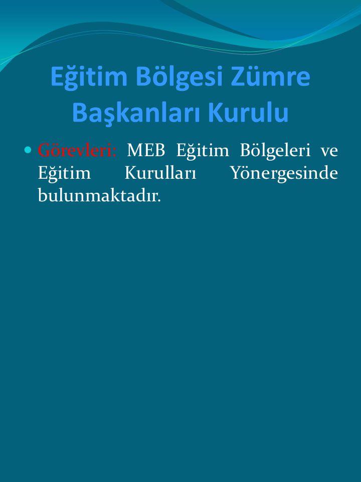 Eğitim Bölgesi Zümre Başkanları Kurulu Görevleri: MEB Eğitim Bölgeleri ve Eğitim Kurulları Yönergesinde bulunmaktadır.
