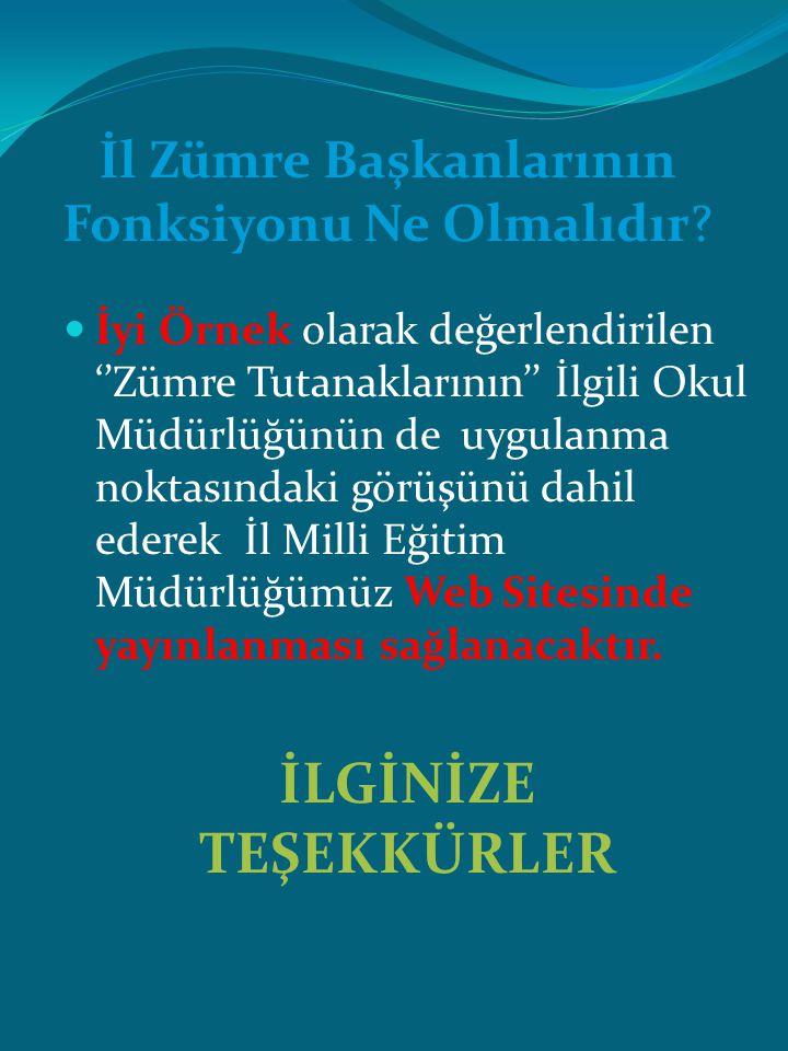 İyi Örnek olarak değerlendirilen ''Zümre Tutanaklarının'' İlgili Okul Müdürlüğünün de uygulanma noktasındaki görüşünü dahil ederek İl Milli Eğitim Müdürlüğümüz Web Sitesinde yayınlanması sağlanacaktır.