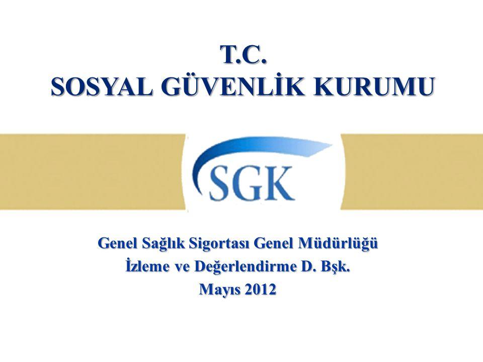 T.C. SOSYAL GÜVENLİK KURUMU Genel Sağlık Sigortası Genel Müdürlüğü İzleme ve Değerlendirme D. Bşk. Mayıs 2012