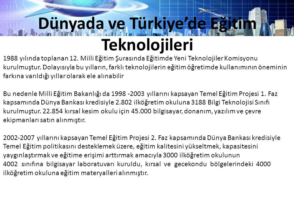 Dünyada ve Türkiye'de Eğitim Teknolojileri 1988 yılında toplanan 12. Milli Eğitim Şurasında Eğitimde Yeni Teknolojiler Komisyonu kurulmuştur. Dolayısı