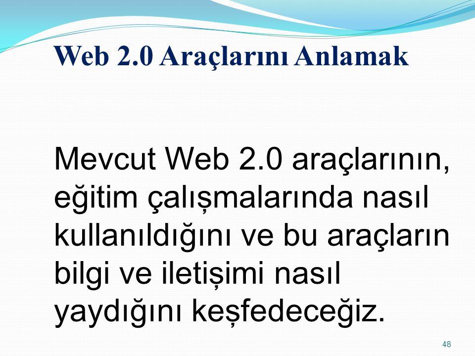 Web 2.0 Araçlarını Anlamak Mevcut Web 2.0 araçlarının, eğitim çalışmalarında nasıl kullanıldığını ve bu araçların bilgi ve iletişimi nasıl yaydığını k