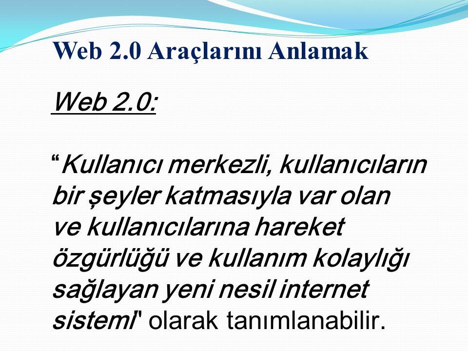 """Web 2.0: """"Kullanıcı merkezli, kullanıcıların bir şeyler katmasıyla var olan ve kullanıcılarına hareket özgürlüğü ve kullanım kolaylığı sağlayan yeni n"""