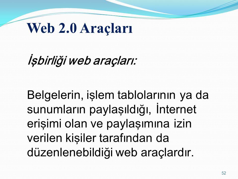 İşbirliği web araçları: Belgelerin, işlem tablolarının ya da sunumların paylaşıldığı, İnternet erişimi olan ve paylaşımına izin verilen kişiler tarafı