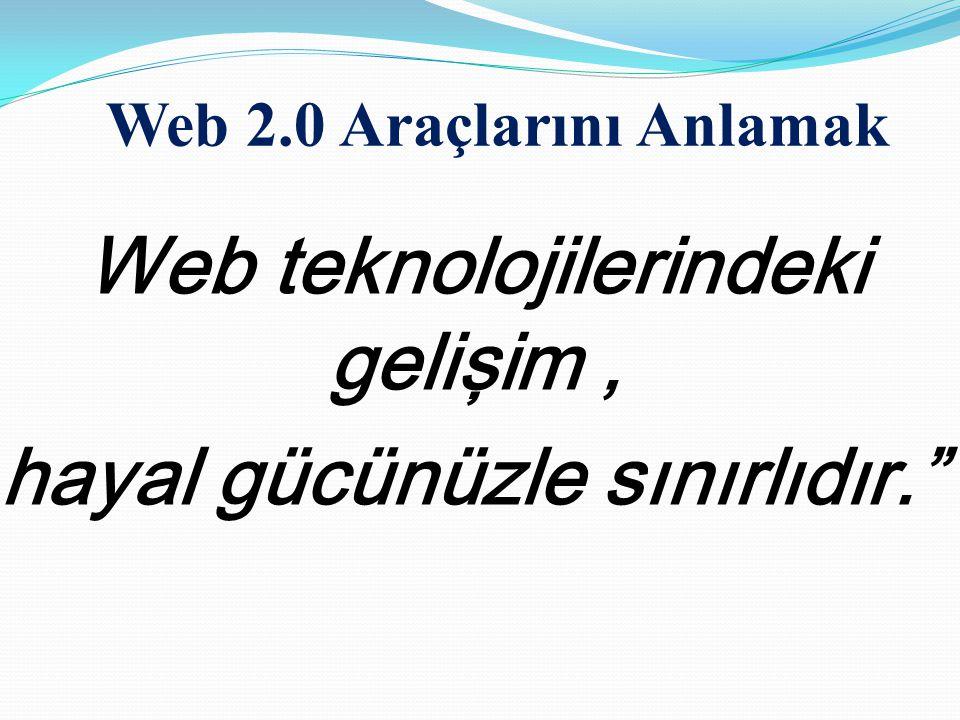 """Web teknolojilerindeki gelişim, hayal gücünüzle sınırlıdır."""" Web 2.0 Araçlarını Anlamak"""