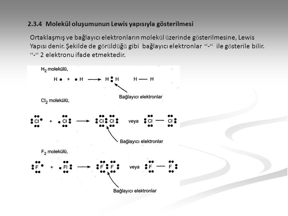 2.3.4 Molekül oluşumunun Lewis yapısıyla gösterilmesi Ortaklaşmış ve bağlayıcı elektronların molek ü l ü zerinde g ö sterilmesine, Lewis Yapısı denir.