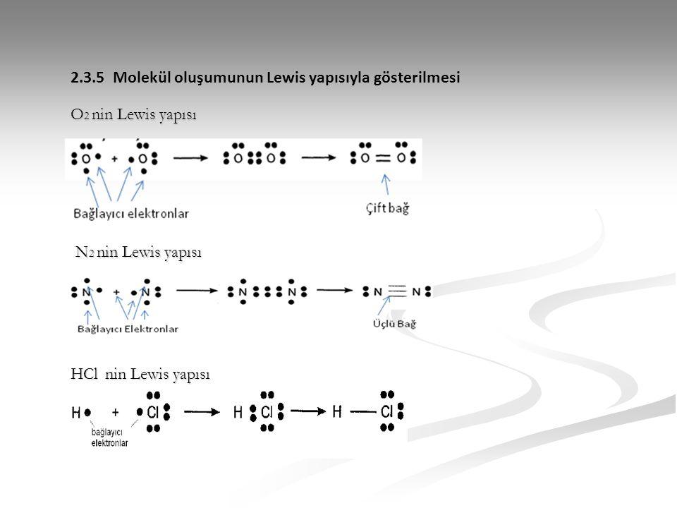 2.3.5 Molekül oluşumunun Lewis yapısıyla gösterilmesi O 2 nin Lewis yapısı N 2 nin Lewis yapısı HCl nin Lewis yapısı