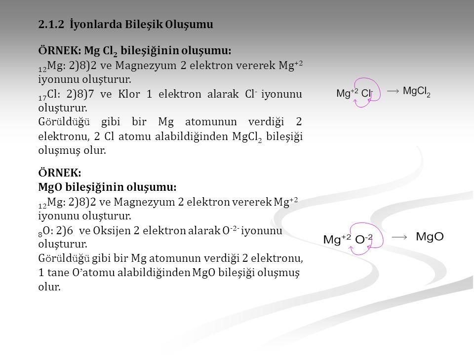 Ö RNEK: Mg Cl 2 bileşiğinin oluşumu: 12 Mg: 2)8)2 ve Magnezyum 2 elektron vererek Mg +2 iyonunu oluşturur. 17 Cl: 2)8)7 ve Klor 1 elektron alarak Cl -