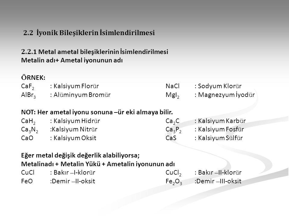2.2. 1 Metal ametal bileşiklerinin İsimlendirilmesi Metalin adı+ Ametal iyonunun adı Ö RNEK: CaF 2 : Kalsiyum Flor ü rNaCl: Sodyum Klor ü r AlBr 3 : A