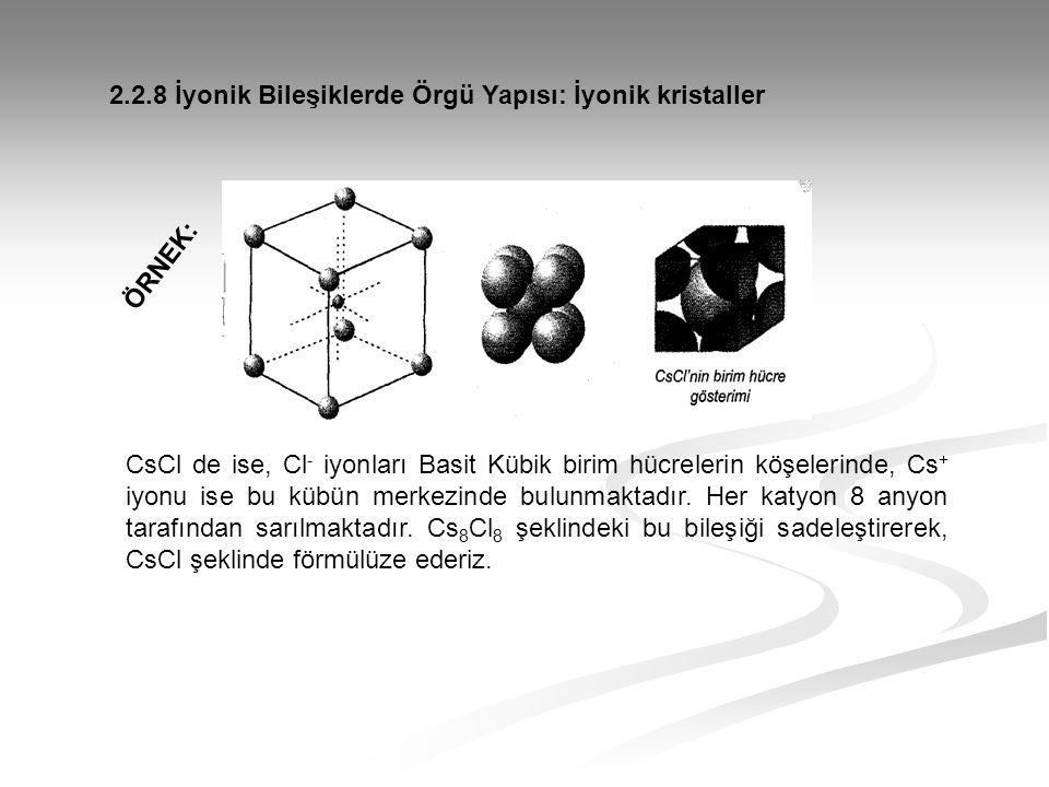 CsCl de ise, Cl - iyonları Basit Kübik birim hücrelerin köşelerinde, Cs + iyonu ise bu kübün merkezinde bulunmaktadır. Her katyon 8 anyon tarafından s